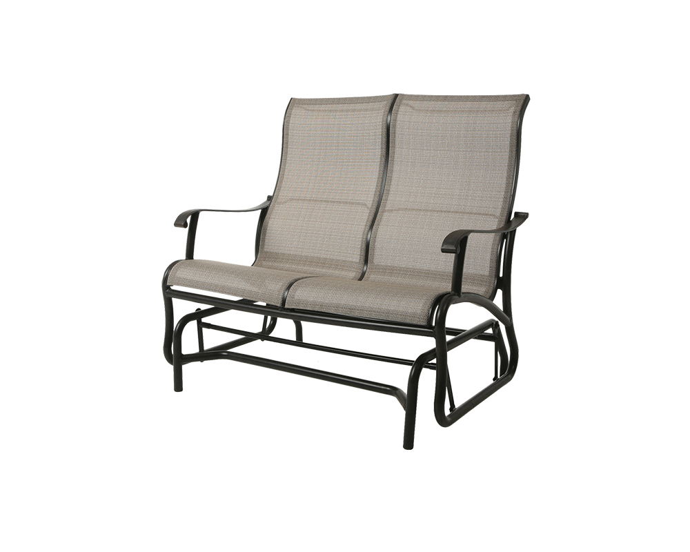 Scarsdale Sling Loveseat Glider – Green Acres Outdoor Living Pertaining To Outdoor Fabric Glider Benches (View 19 of 25)