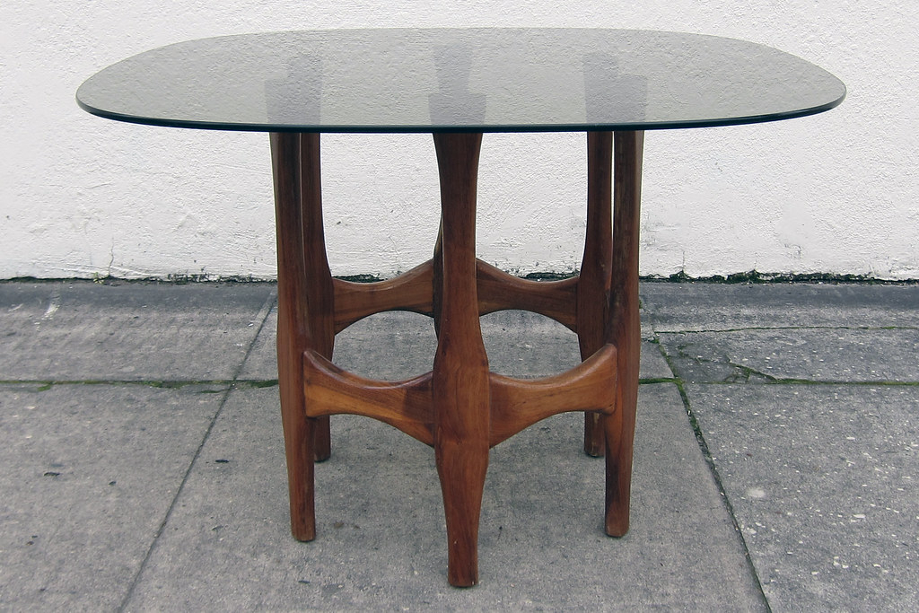 Sculptural Walnut Dining Table W/ Smoked Glass Top | Flickr With Regard To Smoked Oval Glasstop Dining Tables (View 9 of 25)