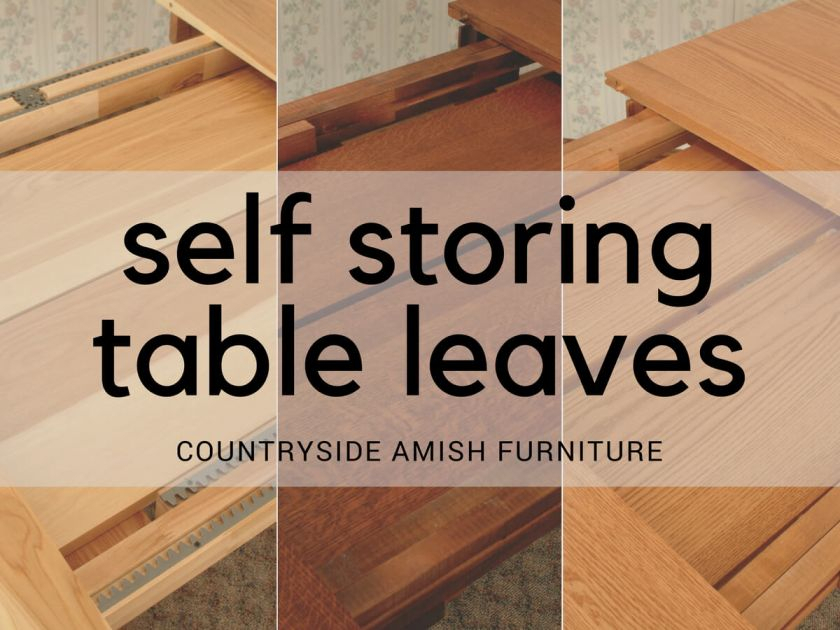 Self Storing Amish Table Leaves – Countryside Amish Furniture Within Wood Kitchen Dining Tables With Removable Center Leaf (View 11 of 25)
