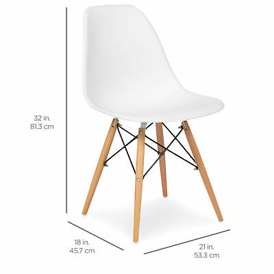 Set Of 2 White Ergonomic Eames Style Kitchen Dining Room For Eames Style Dining Tables With Wooden Legs (View 6 of 25)