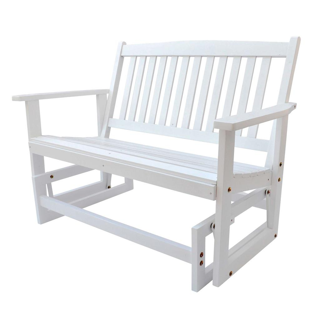 Shine Company Torrey Outdoor Wood Glider Loveseat Bench 46 In (View 21 of 25)