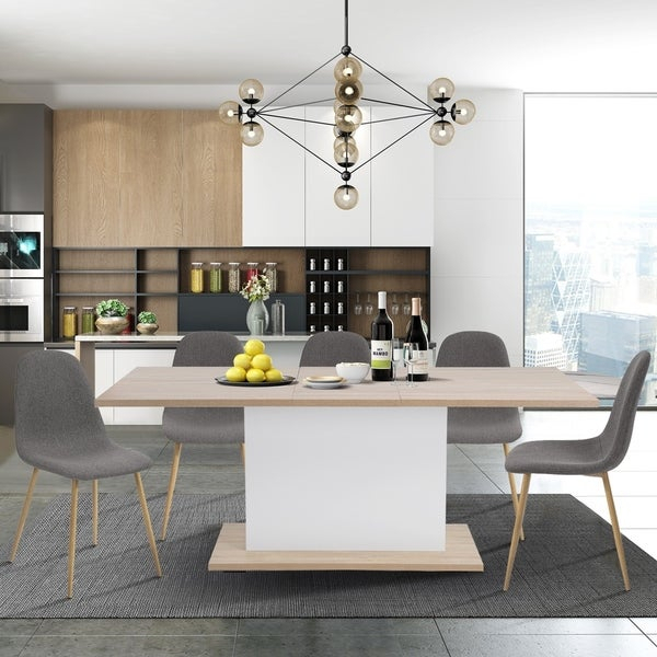 Shop Carson Carrington Salgsjon Extendable Wood Dining Table In 8 Seater Wood Contemporary Dining Tables With Extension Leaf (View 17 of 25)