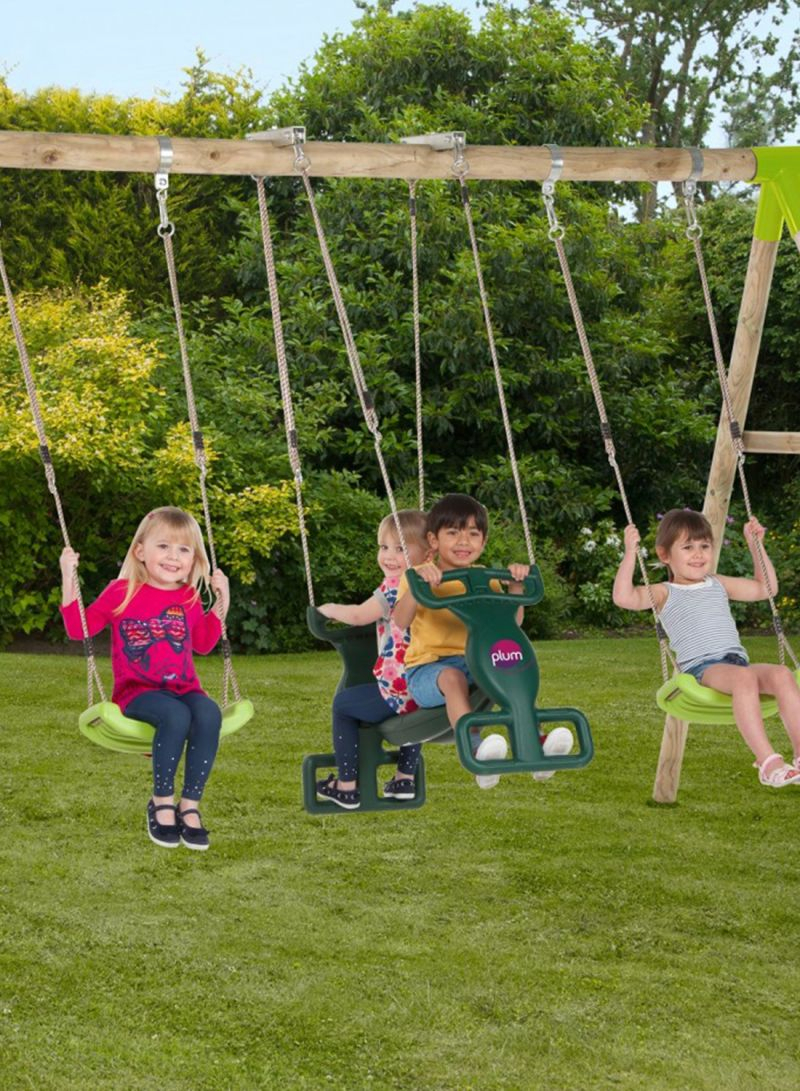 Shop Plum Vervet Wooden Swing Set Online In Dubai, Abu Dhabi Within Dual Rider Glider Swings With Soft Touch Rope (View 3 of 25)