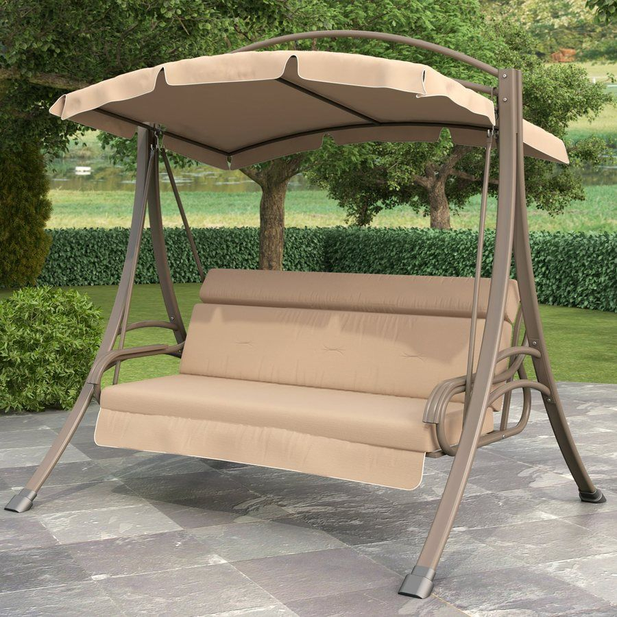 Shop Sonax 3 Seat Steel Casual Porch Swing At Lowes Regarding Canopy Porch Swings (View 5 of 25)