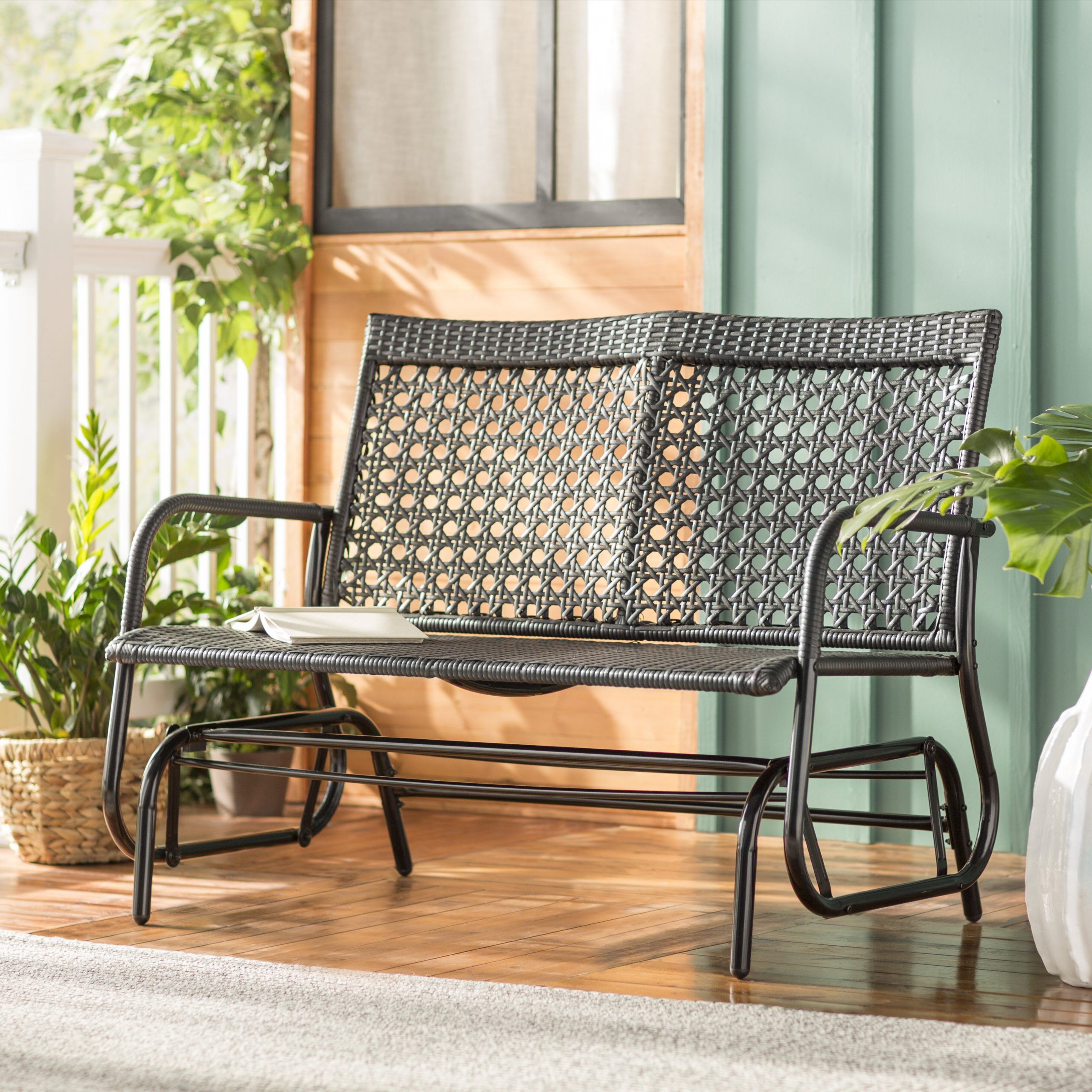 Shupe Steel Rattan Outdoor Patio Double Bench Glider Regarding Iron Double Patio Glider Benches (Image 23 of 25)