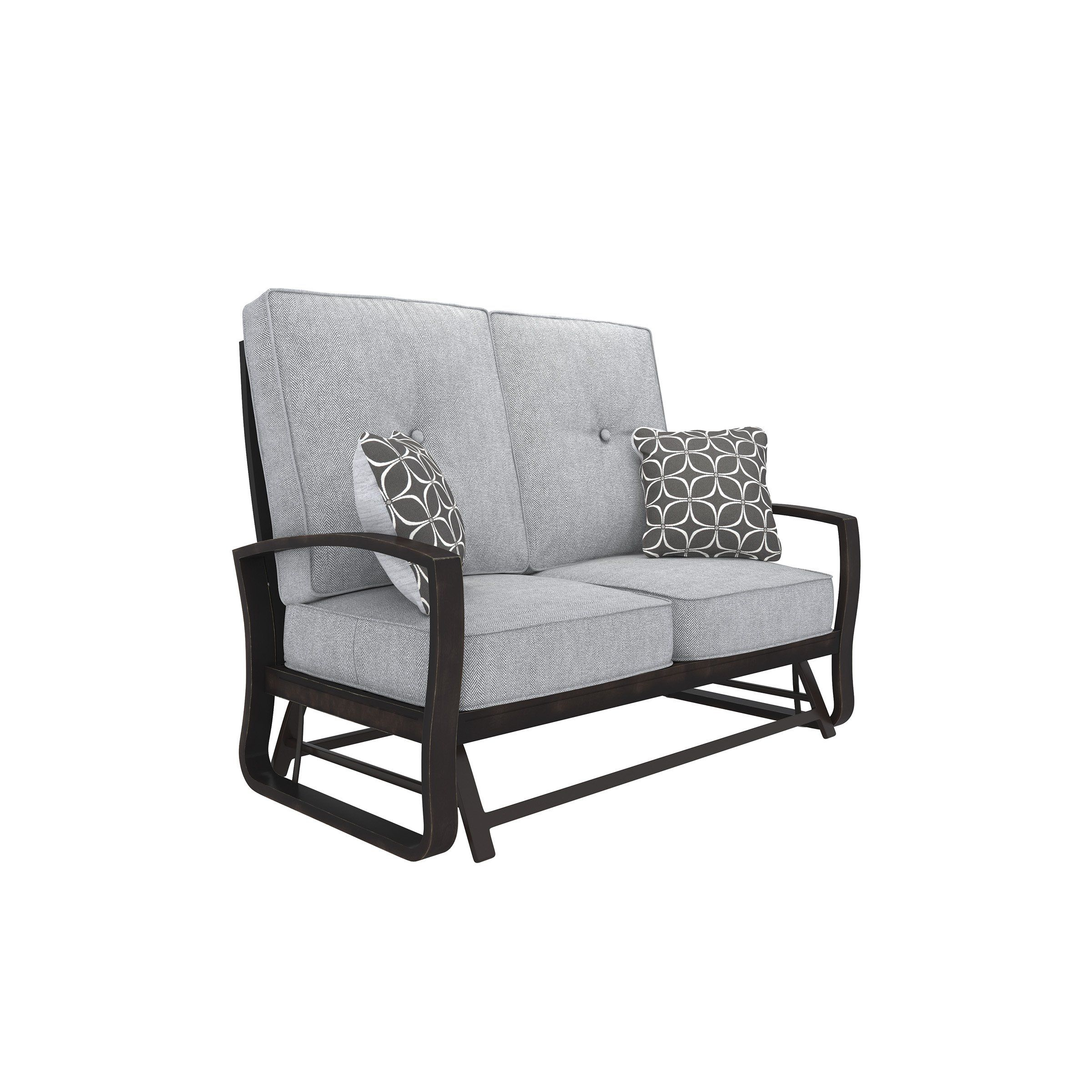 Signature Design P414 835 Castle Island Brown Gray Outdoor Pertaining To Loveseat Glider Benches With Cushions (View 2 of 25)