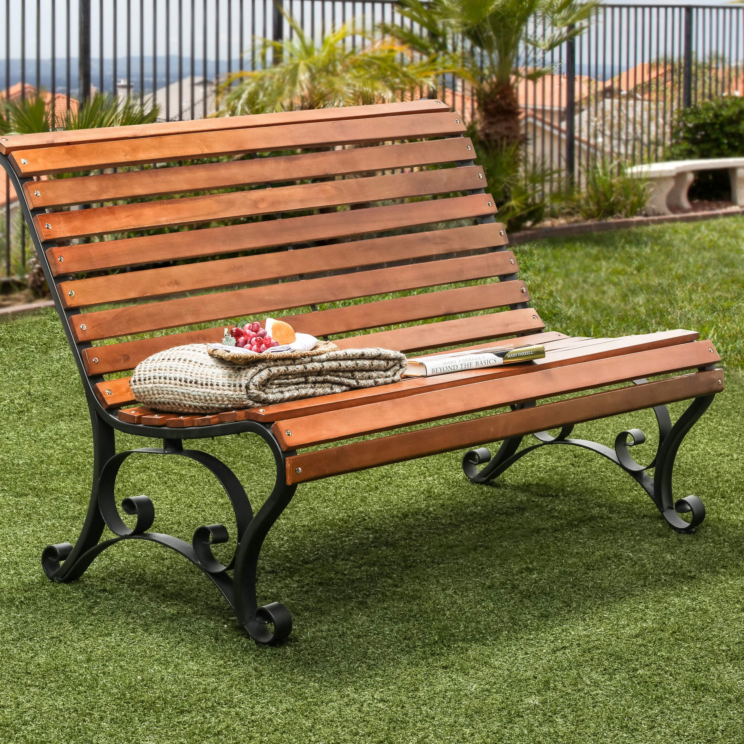 Simply Slatted Outdoor Iron Park Bench With Regard To Iron Grove Slatted Glider Benches (View 2 of 26)
