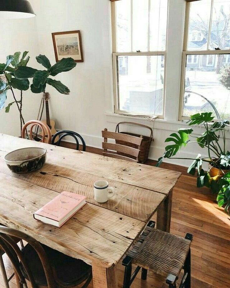 Small Bohemian Style Dining Room Design | Home Decor, Dining Inside Small Rustic Look Dining Tables (Image 19 of 25)