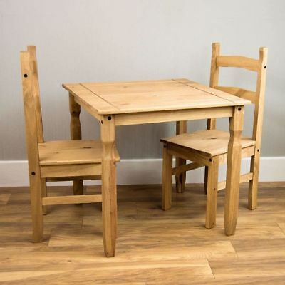 Small Natural Wooden Dining Table And 2 Chairs Set Kitchen With Regard To Rustic Pine Small Dining Tables (View 24 of 25)