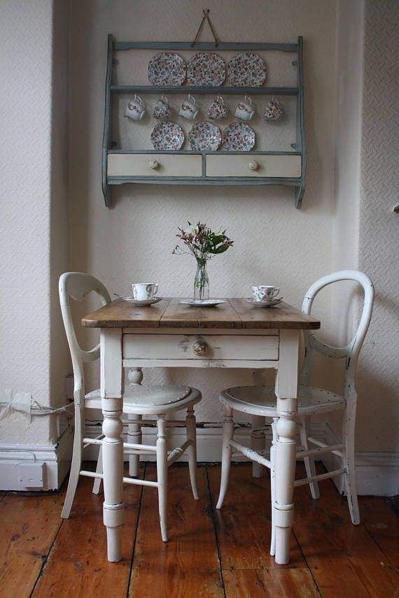 Small Painted Vintage Farmhouse Pine Table With Cutlery Inside Rustic Pine Small Dining Tables (View 5 of 25)