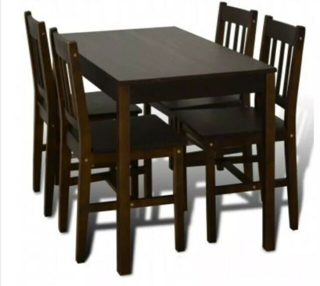 Small Wooden Dark Brown Dining Table And 4 Chairs Set Kitchen Rustic Pine  Home Inside Rustic Pine Small Dining Tables (View 21 of 25)