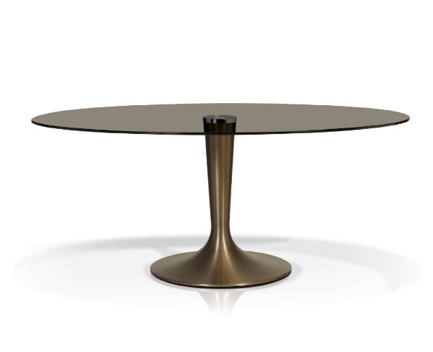 Smoked Oval Glasstop Dining Table With Smoked Oval Glasstop Dining Tables (View 12 of 25)