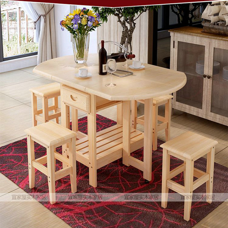 Solid Pine Wood Semi Circle Fold Able Coffee Dining Table With Regard To Solid Wood Circular Dining Tables White (Image 18 of 25)