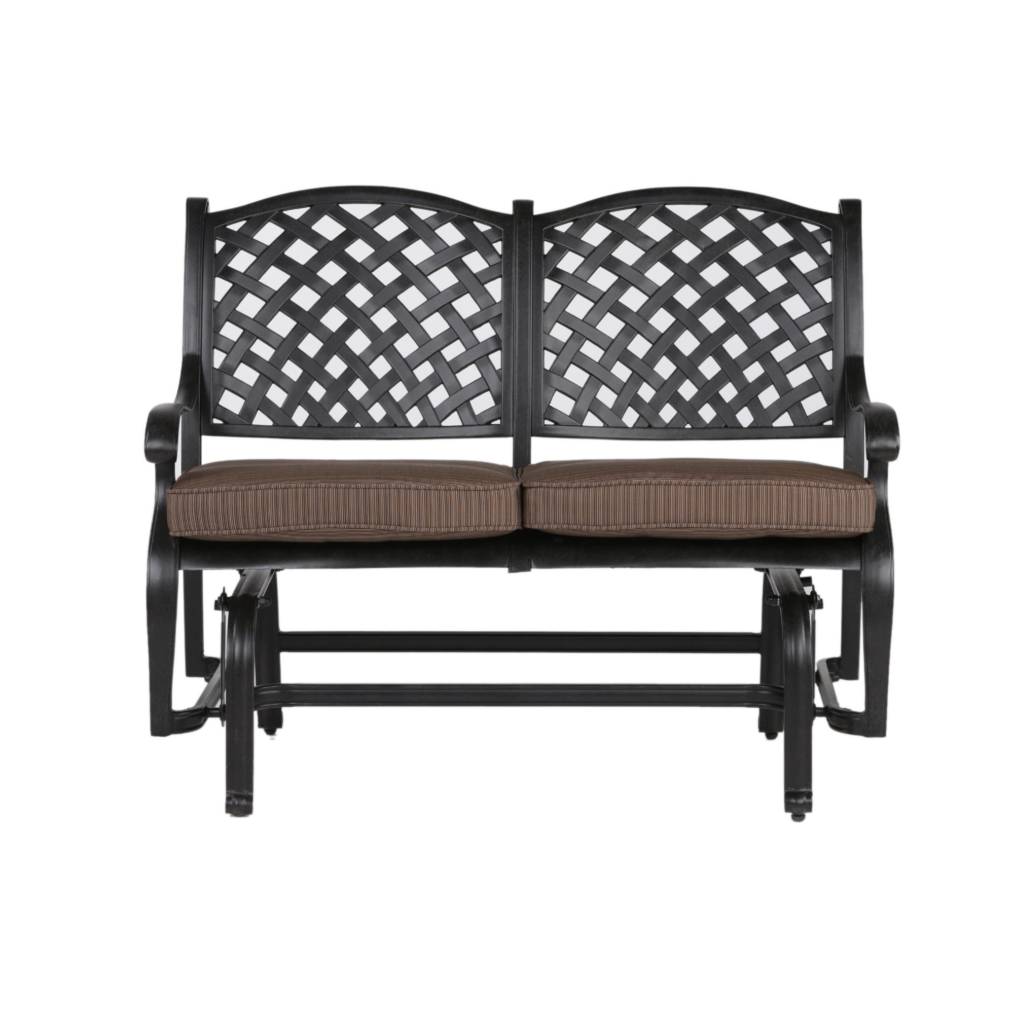 South Ponto Aluminum Bench Glider With Cushion In Glider Benches With Cushion (Image 24 of 25)