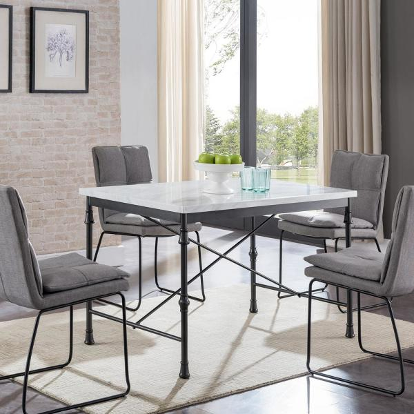Southern Enterprises Sorent White Faux Marble Dining Table Regarding Faux Marble Finish Metal Contemporary Dining Tables (View 19 of 25)