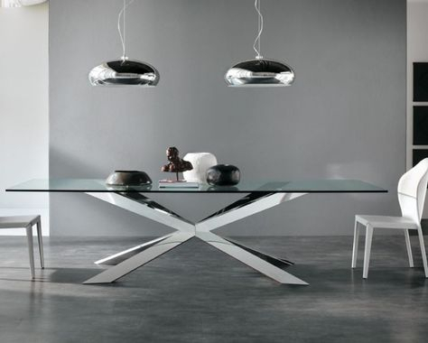 Spyder Glass Dining Table – Chrome Base   Glass Dining Table Inside Eames Style Dining Tables With Chromed Leg And Tempered Glass Top (View 12 of 25)