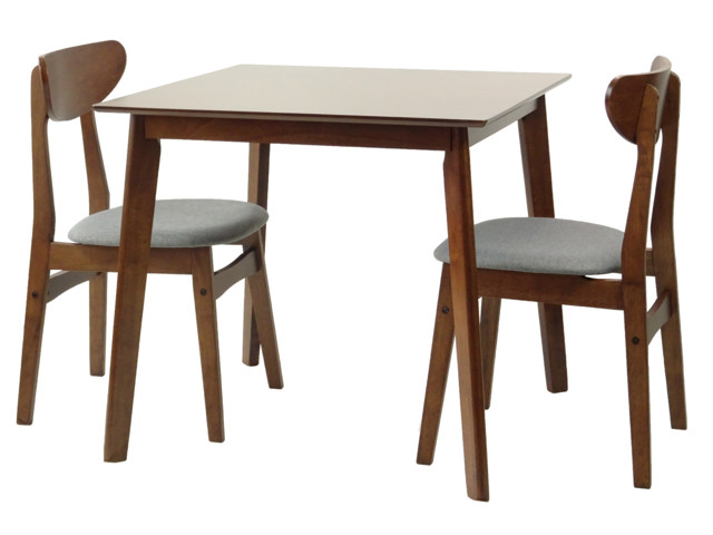 Square 3 Piece Dining Set, Medium Brown, Yumiko Side Chairs Inside 3 Pieces Dining Tables And Chair Set (View 20 of 25)