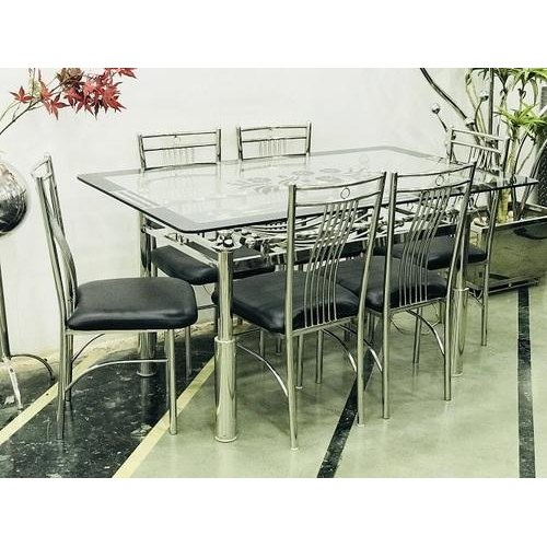 Stainless Steel Glass Top Dining Table Set In Steel And Glass Rectangle Dining Tables (View 23 of 25)