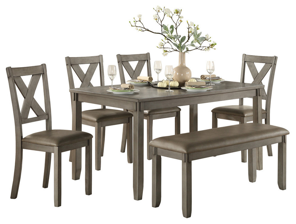 Standish Dining Room Table, Chairs And Bench, Set Of 6 Intended For Transitional 6 Seating Casual Dining Tables (Image 21 of 25)