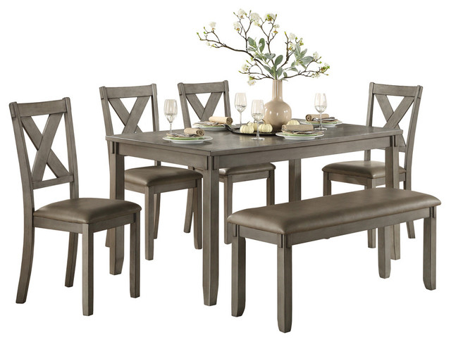 Standish Dining Room Table, Chairs And Bench, Set Of 6 Pertaining To Transitional 6 Seating Casual Dining Tables (Image 22 of 25)