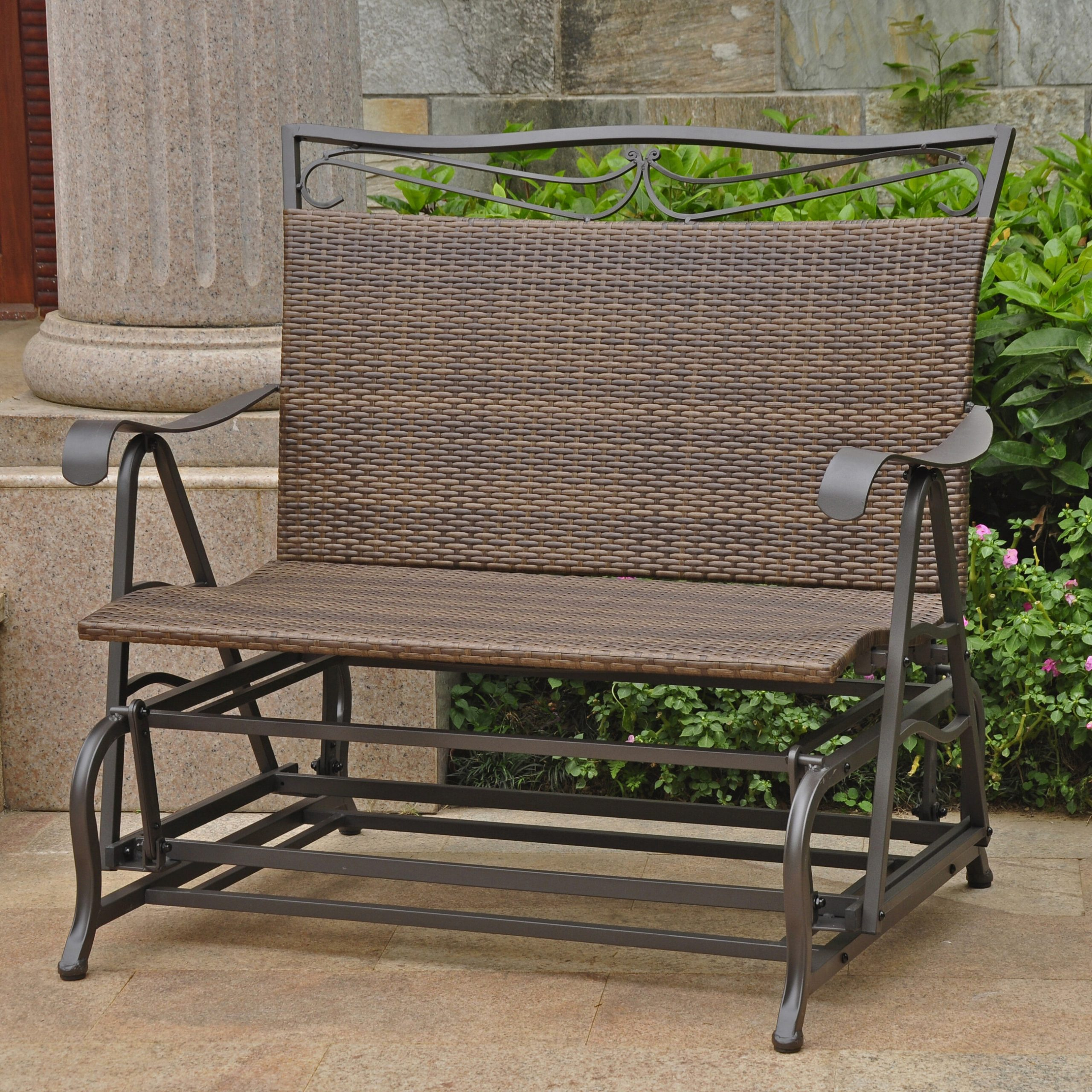 Stapleton Indoor/outdoor Double Glider Bench Regarding Padded Sling Double Glider Benches (View 7 of 25)