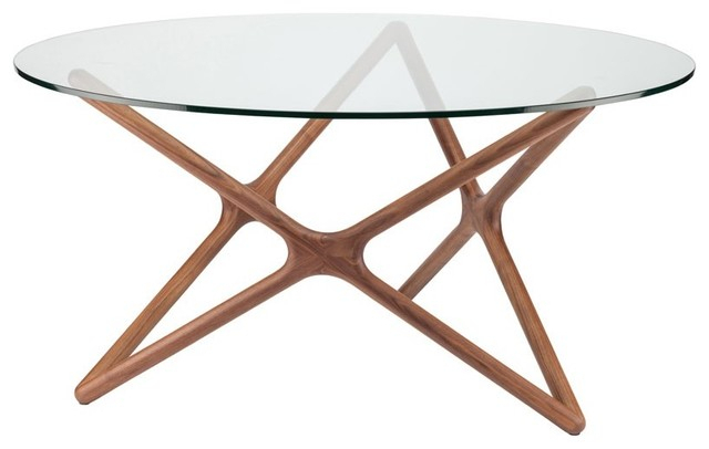 Star 44 Inch Round Dining Table With Glass Top Regarding Dining Tables With Stained Ash Walnut (Image 24 of 25)