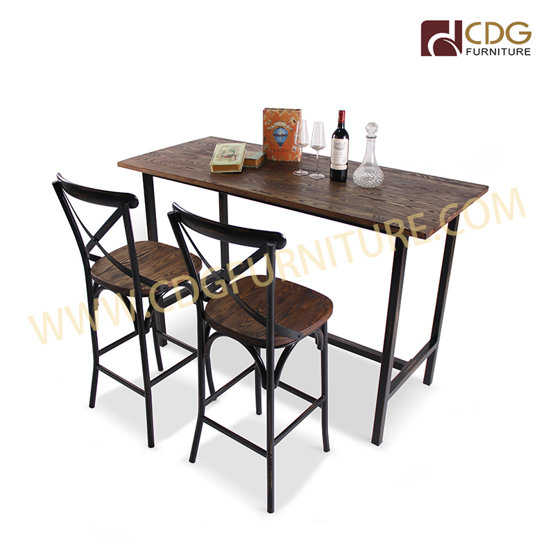 Steel Leg Wooden Table Top Antique Kitchen Dining Bar Table In Antique Black Wood Kitchen Dining Tables (View 16 of 25)
