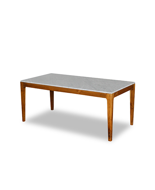 Stephano White Marble Top Dining Table With Teak Leg  (Image 18 of 25)