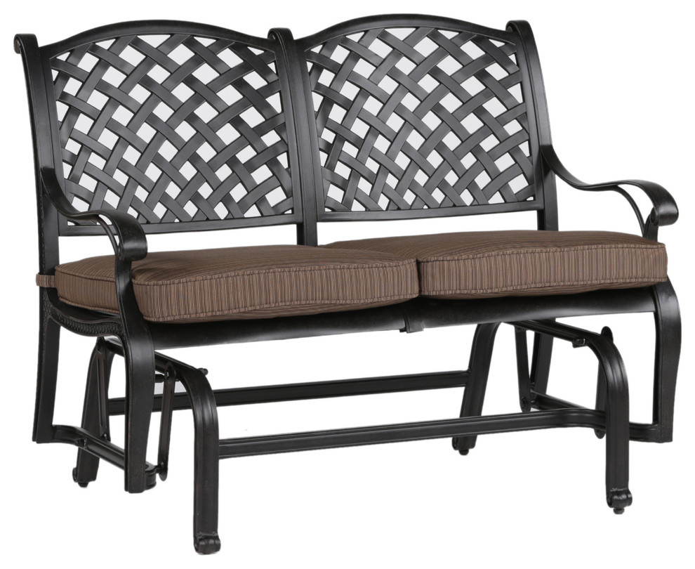 Stinson Bench Glider With Cushion, Outdoor Metal Glider Intended For Speckled Glider Benches (View 11 of 25)
