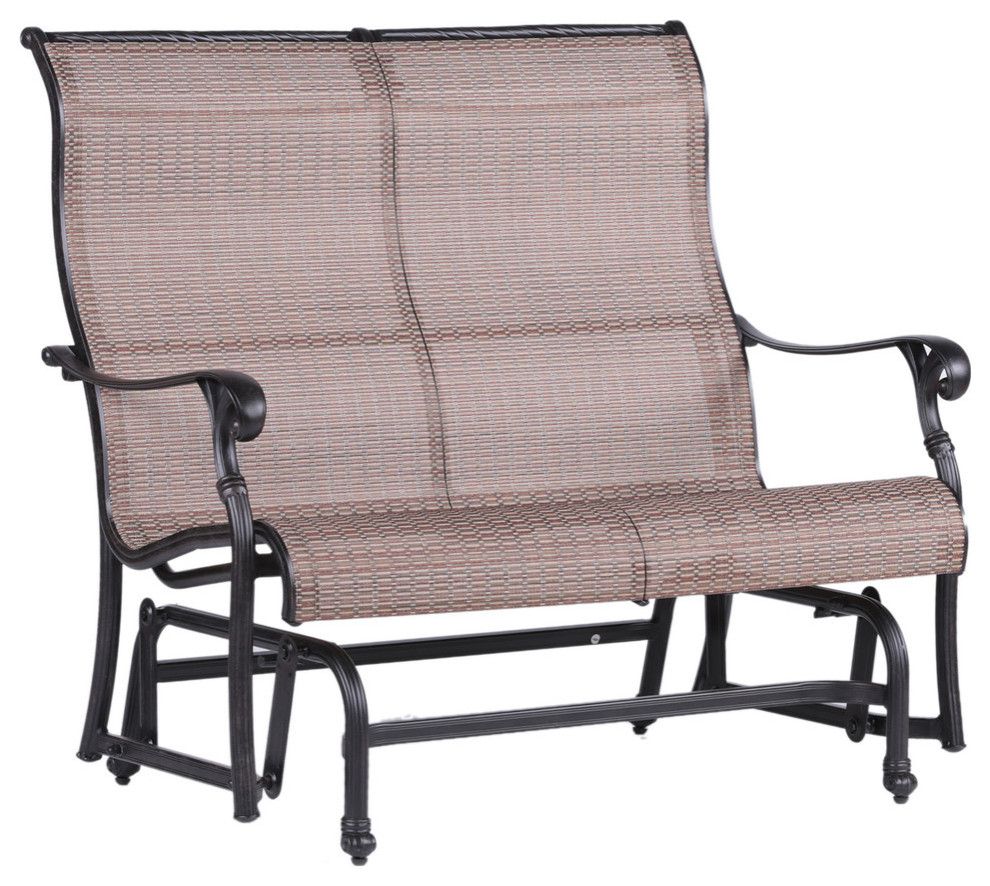Stinson Sling Double Glider, Outdoor Metal Glider In Speckled Glider Benches (View 20 of 25)