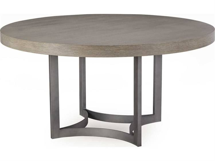 Stunning Oak And Grey Round Dining Table Furniture Room Intended For Solid Wood Circular Dining Tables White (Image 22 of 25)