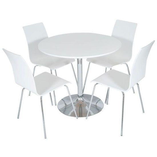 Sturdy, #modern And Massive! Actona Round White #diningtable Inside 4 Seater Round Wooden Dining Tables With Chrome Legs (View 5 of 25)