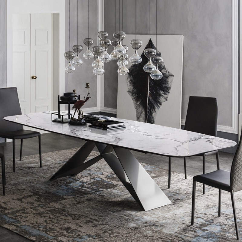 "Stylish 63""/71""/79"" Rectangular White Faux Marble Dining Table With Black Metal Frame Pertaining To Faux Marble Finish Metal Contemporary Dining Tables (View 6 of 25)"