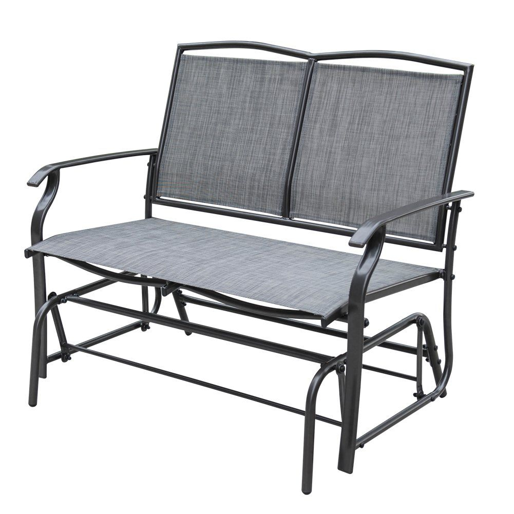 Sundale Outdoor 2 Person Loveseat Glider Bench Chair Patio Inside 2 Person Gray Steel Outdoor Swings (View 9 of 25)