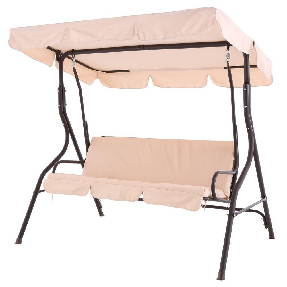 Sunjoy Camo 2 Person Black Metal Porch Swing With Beige Canopy Throughout 2 Person Black Steel Outdoor Swings (Image 21 of 25)