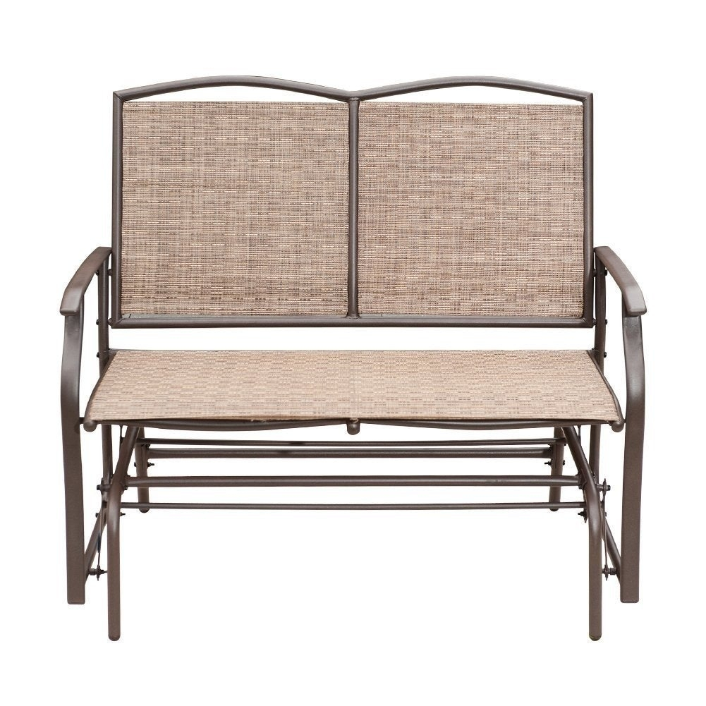 Sunlife Outdoor Indoor Glider Loveseat Set Rattan Resin Wicker Patio Bench  Furniture Double For 2 Person Intended For Indoor/outdoor Double Glider Benches (View 7 of 25)
