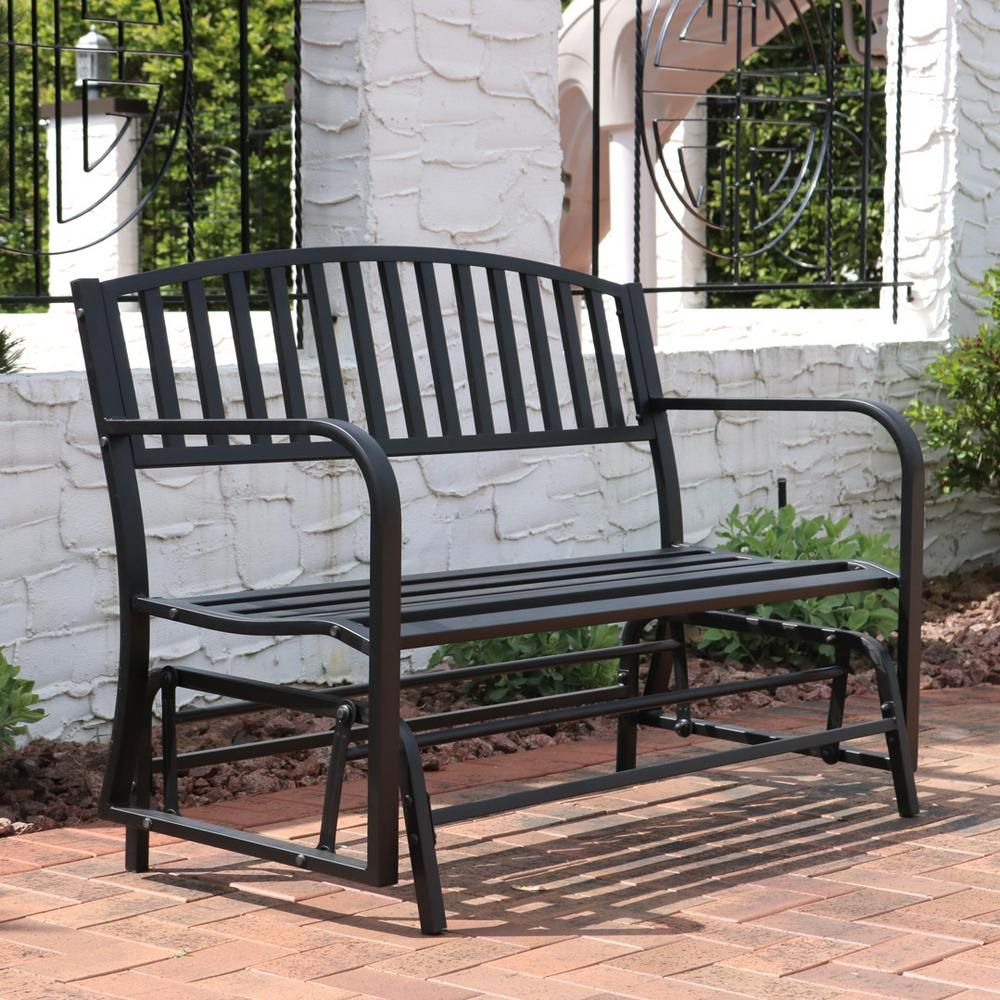 Sunnydaze Decor 2 Person Black Steel Outdoor Glider Bench In Throughout Outdoor Steel Patio Swing Glider Benches (View 9 of 25)