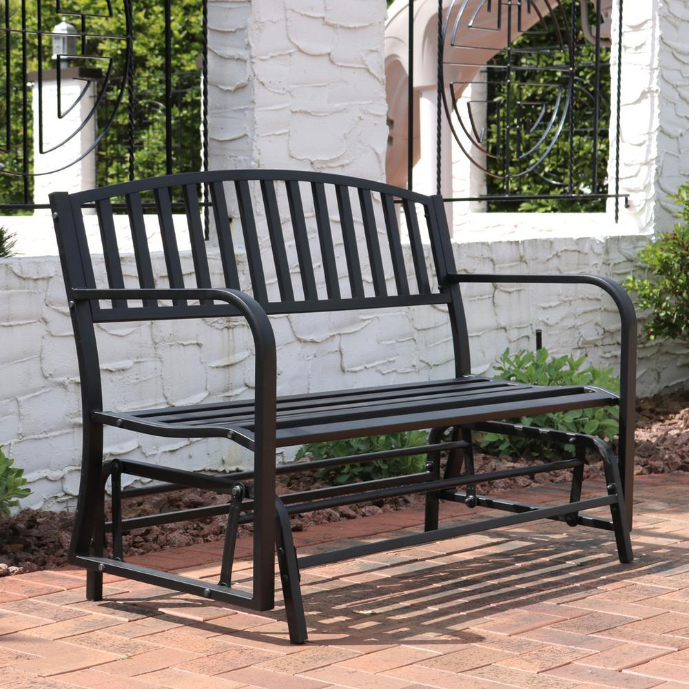 Sunnydaze Decor 2 Person Black Steel Outdoor Glider Bench With Regard To Twin Seat Glider Benches (View 12 of 25)