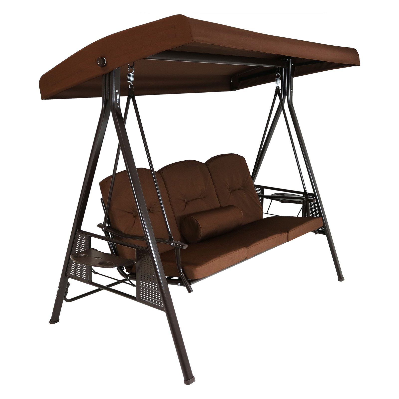 Sunnydaze Decor 3 Person Adjustable Tilt Canopy Patio Swing In 3 Person Brown Steel Outdoor Swings (View 2 of 25)