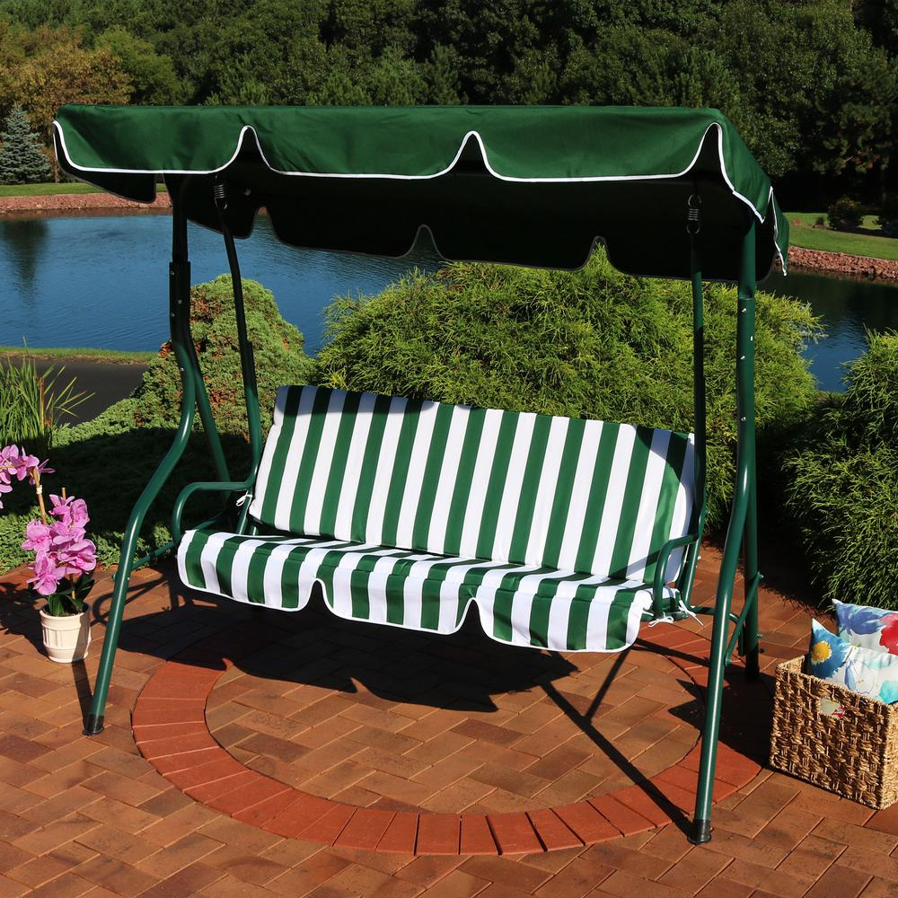 Sunnydaze Decor 3 Person Green Steel Porch Swing With Green With Regard To Outdoor Pvc Coated Polyester Porch Swings With Stand (View 21 of 25)