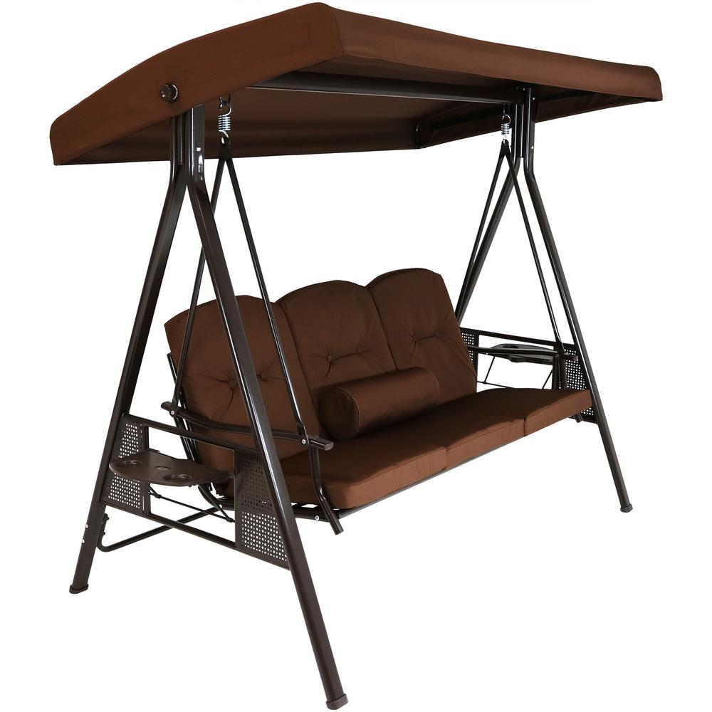 Sunnydaze Decor 3 Person Steel Porch Swing With Brown Cushions For 3 Person Red With Brown Powder Coated Frame Steel Outdoor Swings (View 5 of 25)