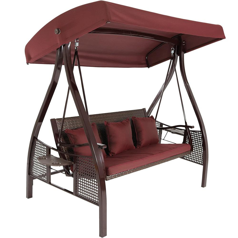 Sunnydaze Decor Deluxe Steel Frame Porch Swing With Maroon Cushion, Canopy And Side Tables Regarding 3 Person Red With Brown Powder Coated Frame Steel Outdoor Swings (View 8 of 25)