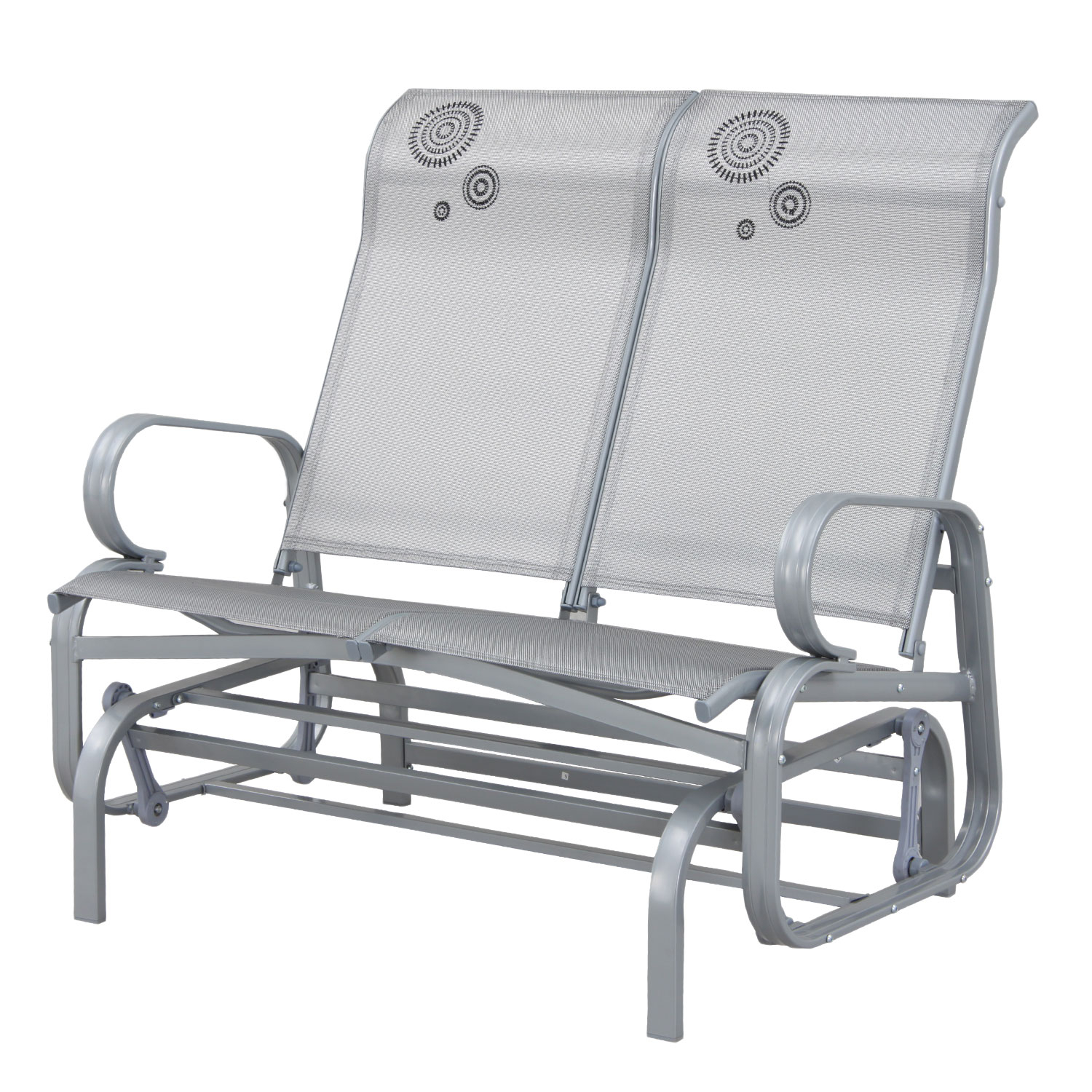 Suntime Havana Silver Twin Seat Outdoor Rocker Glider Within Twin Seat Glider Benches (View 6 of 25)