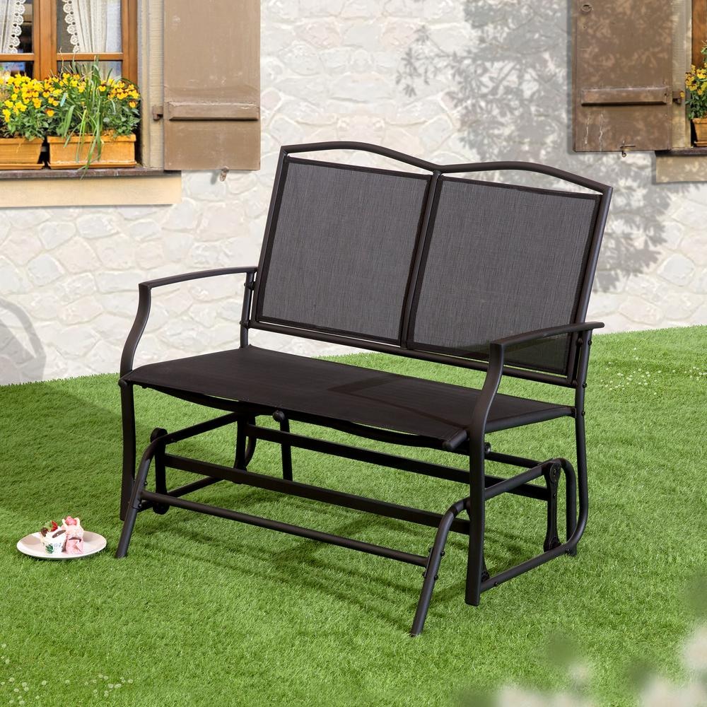 Suntime Outdoor Living 1 Piece Black Steel Outdoor Swing Glider Bench For Black Outdoor Durable Steel Frame Patio Swing Glider Bench Chairs (Image 22 of 25)