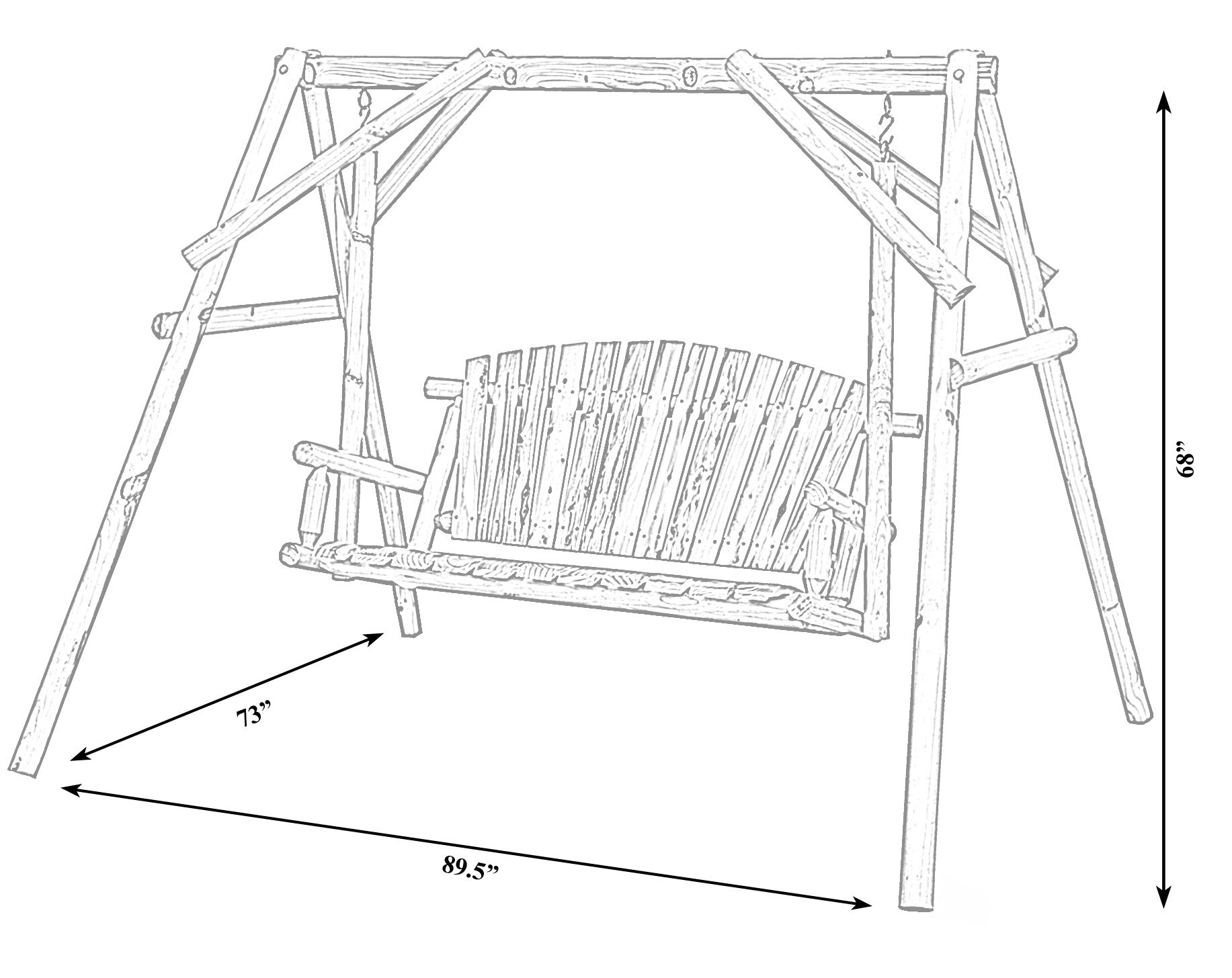 Swing 651355234703 Bench Wooden Wooden Wood Log Patio 2 For 2 Person Black Wood Outdoor Swings (View 15 of 25)