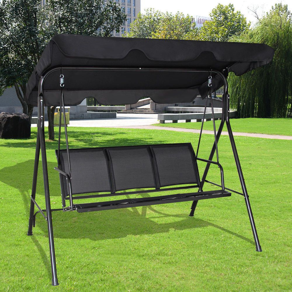 Swing Canopy Hammock Patio Deck Furniture 3 Persons Outdoor For Outdoor Pvc Coated Polyester Porch Swings With Stand (View 24 of 25)
