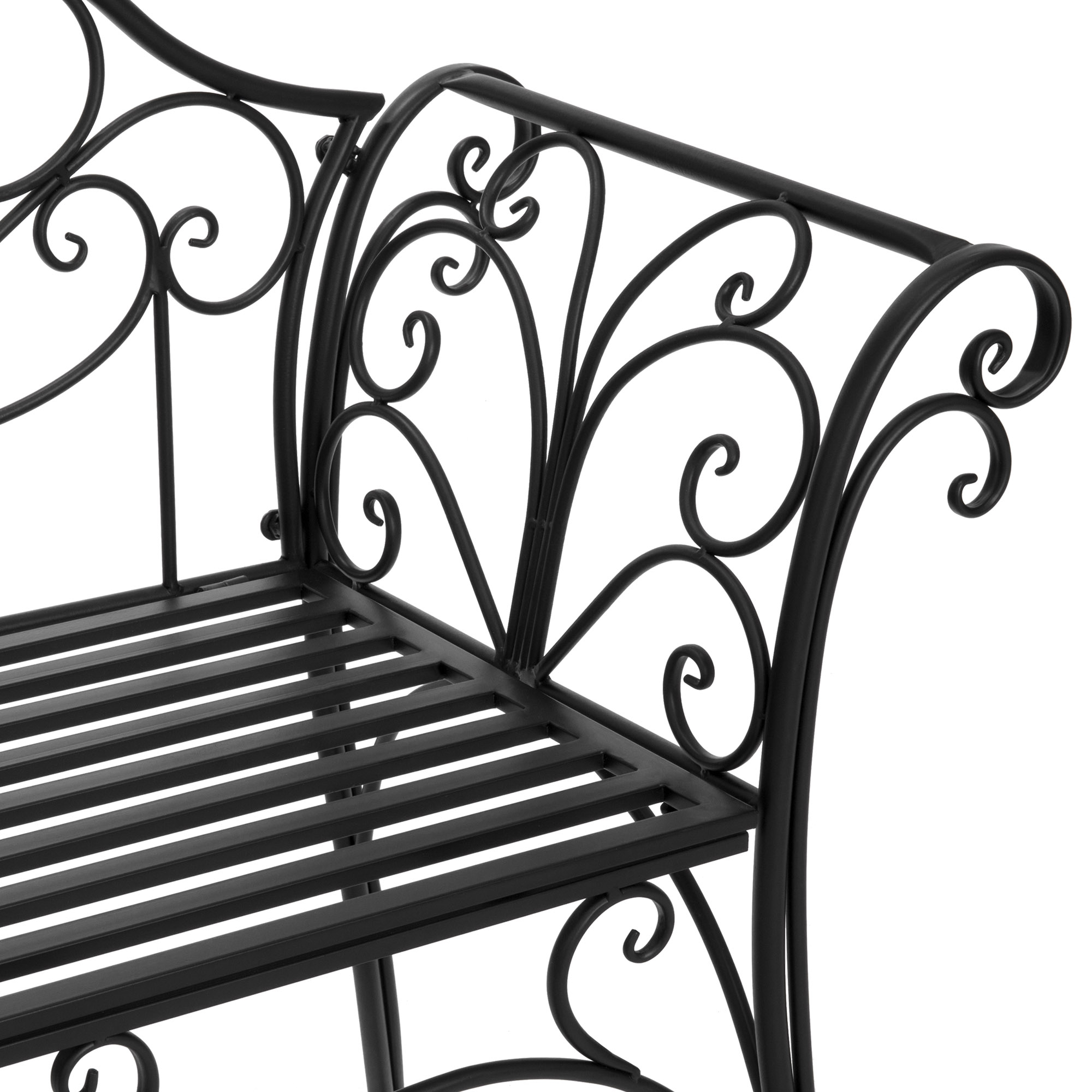 Swing Chair 2 Person Garden Bench 52 Inch Decorative Scroll Within 2 Person Black Steel Outdoor Swings (View 14 of 25)