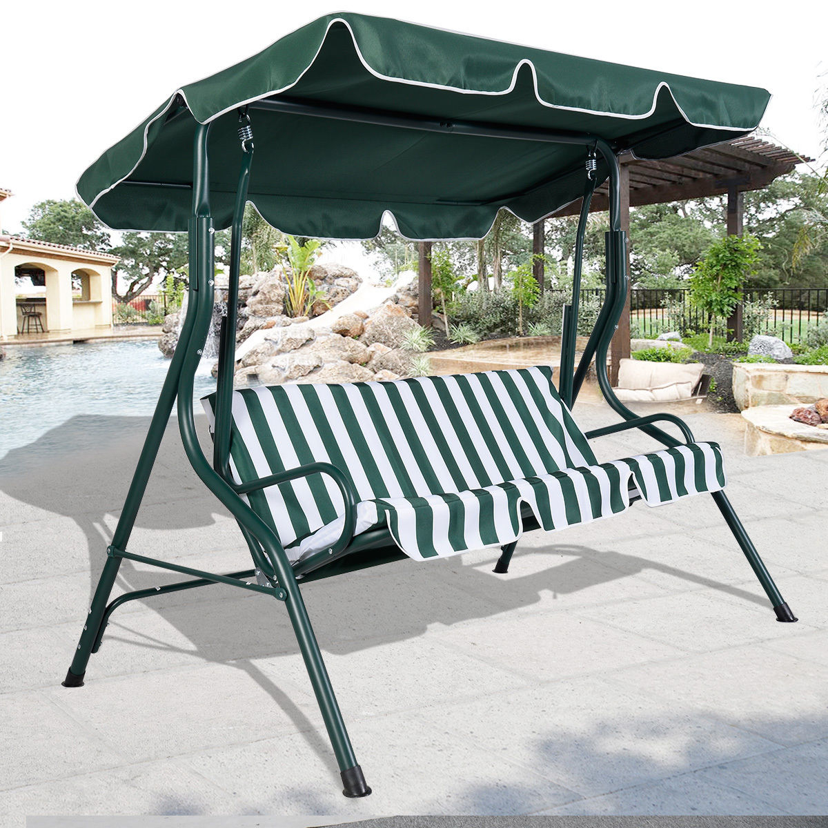 Swing Chair Brown 3 Person Patio Canopy Swing Sling Seating Regarding 3 Person Brown Steel Outdoor Swings (View 16 of 25)
