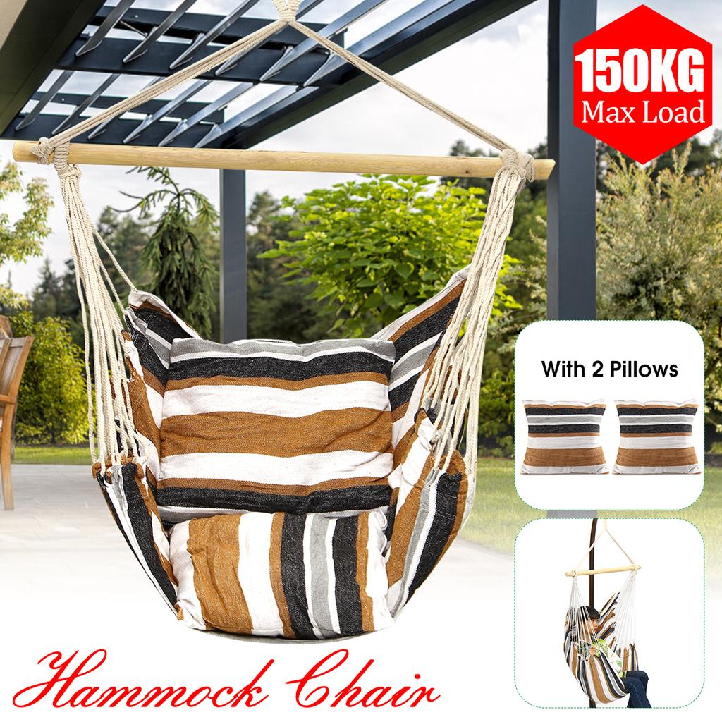 Swing Chair Hammock Hanging Seat Rope Porch Patio Garden Indoor Outdoor Canvas Pertaining To Garden Leisure Outdoor Hammock Patio Canopy Rocking Chairs (View 22 of 25)