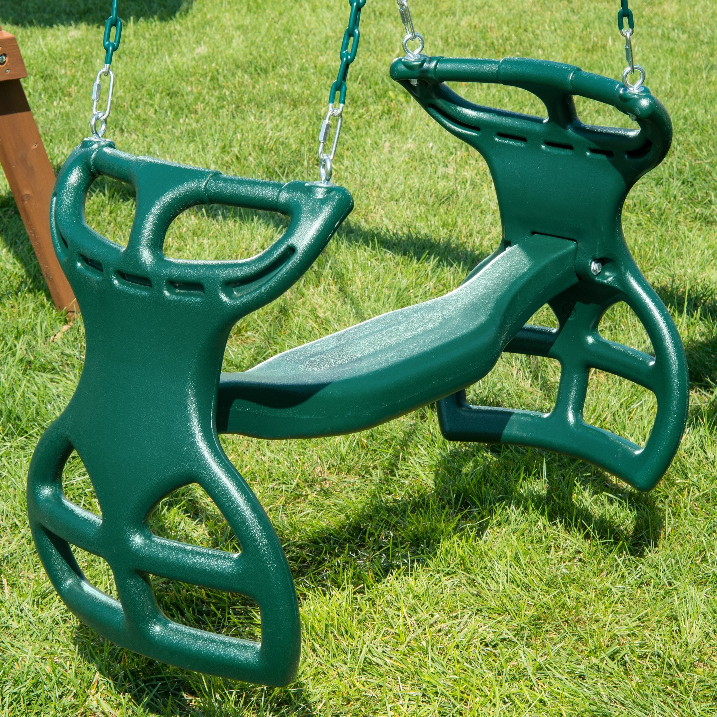 """Swing N Slide Dual Ride Glider With Chains – Green – 38"""" L X 16"""" W X 24"""" H Within Dual Rider Glider Swings With Soft Touch Rope (View 15 of 25)"""